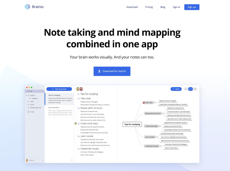 Brainio(ブレイニオ)_《2021年完全版》WEBブラウザで使える無料オンラインマインドマップツール&アプリ比較15選