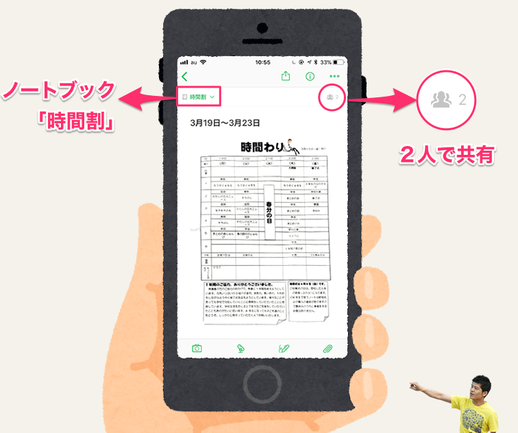 《Evernoteの小枝 #012》子どもの学校の時間割を夫婦で共有する